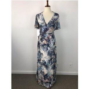 Lovestitch Palm Leaf Maxi Wrap Dress